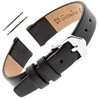 Gilden レディース 6-14mm クラシック カーフスキン フラット ブラック レザー 腕時計バンド F60 12 millimeter Width, Regular Length Black, silver-tone buckle