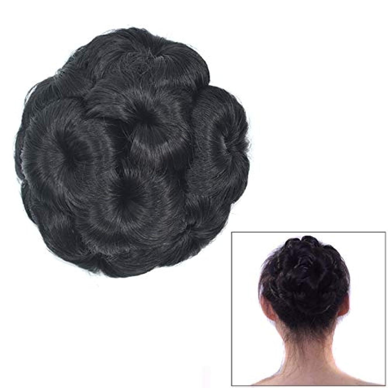 ダンス洗練された快適美しさ 花嫁のためのかつらボールヘッド花のヘアピンのヘアバッグかつらヘッドバンド ヘア&シェービング (色 : Black)