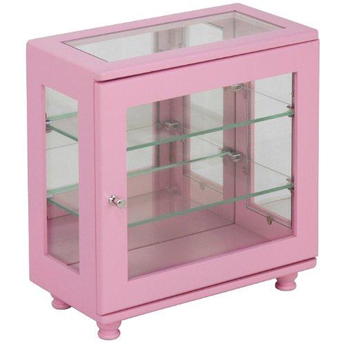 コレクションケース ワイド (ピンク) 【飾る収納/ガラス棚/背面鏡張り/棚板2枚/コンパクト】