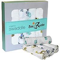 Bee Ruche: 100% オーガニックコットンモスリンブランケットギフトセット - 4パックユニセックス赤ちゃんや幼児用スワッドライラップ (男の子または女の子) - ソフトで通気性、多目的レシーバー - 47 x 47インチ - ハッピーサファリ。