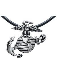 USMC Marine Corp Insignia Semper Fiピューターペンダント+ 18