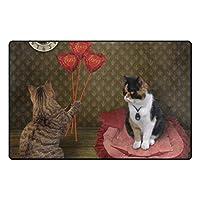 ZOMOY滑り止めエリアラグ猫に花束を贈るルビーハート彼のフロアマットリビングルームのベッドルームダイニングキッチンカーペット玄関マット