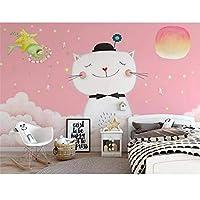 写真壁紙かわいいピンク漫画猫子供部屋寝室リビングルーム背景壁画壁紙 208x146cm