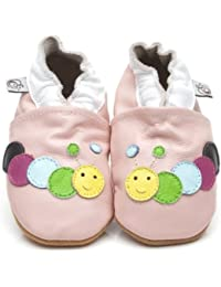 Soft Leather Baby Shoes Caterpillar Pink [ソフトレザーベビーシューズキャタピラーピンク] 3-4 years (16.5 cm)