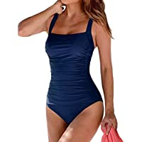 One Piece Swimsuits for Women Tummy Control Vintage Padded Push Up Bathing Suit Monokini Swimwear