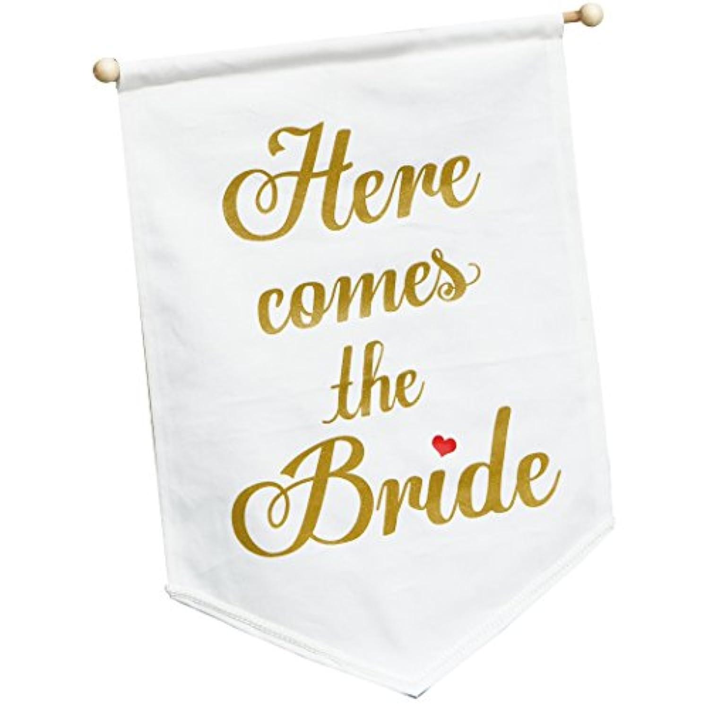 Here comes the bride ウェディングフラッグ (ホワイト) フラワーガール、リングボーイが持って結婚式の演出に!