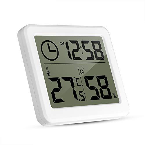 温湿度計 デジタル湿度計 温度計室内 LCD大画面 時計 壁掛け&卓上スタンド兼用 見やすい 肌の潤い インフル対策用 健康管理 熱中症予防 貼り付き ホワイト【Miaodi】 (ホワイト)