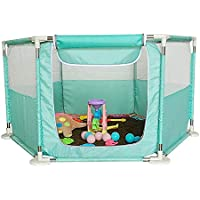 BSNOWF-ベビーサークル ベイビープレイヤードポータブル子供用ゲームフェンス屋内屋外オックスフォードクロス幼児遊び場 (色 : Green)