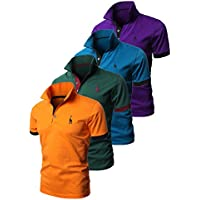 EUROUSMDP Mens Casual Solid Color Giraffe 3 Embroidery Polo Shirts Single or Pack