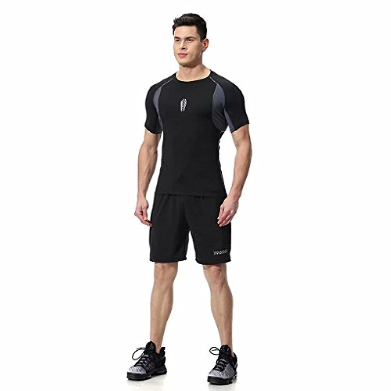 kayiyasuジャージ上下セット メンズ Tシャツ トレーニングウエア 半袖 ジム 吸汗速乾 043-sgt-l03(XL 17809グレー)