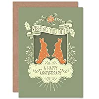 ANNIVERSARY HAPPY RABBITS GREEN NEW ART GREETINGS GIFT CARD 記念日ハッピー緑挨拶贈り物