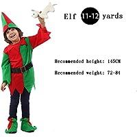 子供のクリスマスエルフファンシードレスコスチューム、衣装やローブとローマの少年、ベルトやヘッドピース、グリーン,145