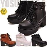 YOSUKE U.S.A ヨースケ 厚底ブーツ レースアップショートブーツ おでこ靴