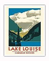 レイクルイーズカナダ - カナディアンロッキー - カナディアンパシフィックホテル - ビンテージな世界旅行のポスター によって作成された チャールズ・ジェームス・グリーンウッド c.1935 - アートポスター - 41cm x 51cm
