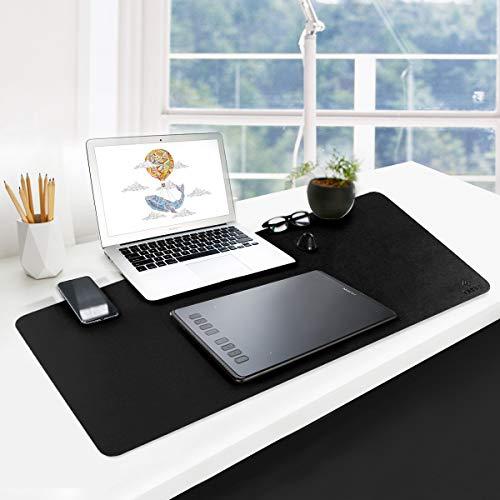 PUレザー多機能オフィスデスクパッドマット防水滑り止め高温耐性掃除が簡単マウスパッドオフィス、家庭、旅行用-大きいサイズ:900mm*400mm*2mm (黒+赤)