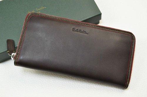 [ポールスミス]Paul Smith コントラストダ 牛革 ラウンドファスナー 長財布 専用箱付 茶×赤系 メンズ