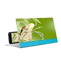 拡大鏡 PUレザー折り畳み式の携帯電話ホルダーは、すべてのスマートフォン向け高精細映画のビデオをスタンドスタンド12インチのデスクトップを拡大する拡大鏡3D携帯電話の画面のステレオ投影、ピンク (Color : Blue)