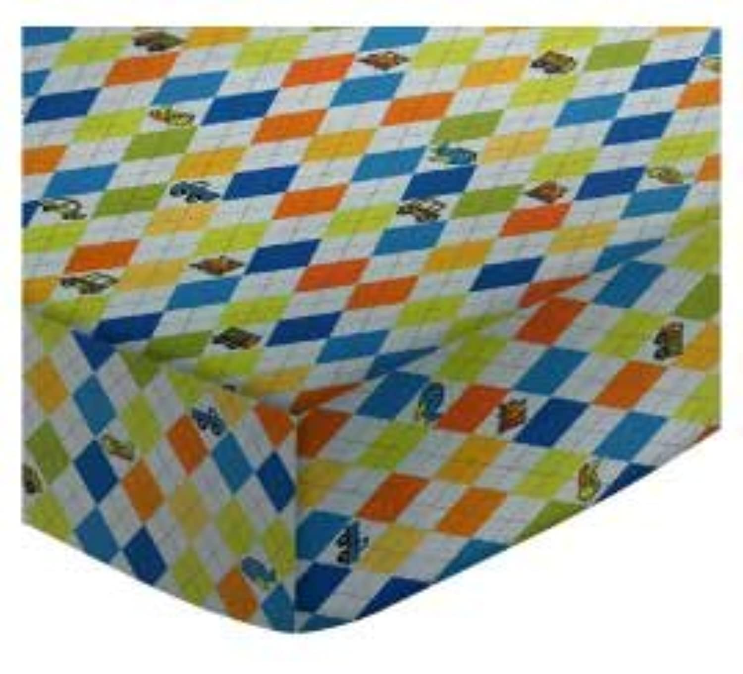 SheetWorld Fitted Square Playard Sheet 37.5 x 37.5 (Fits Joovy) - Argyle Blue Transport - Made In USA by sheetworld