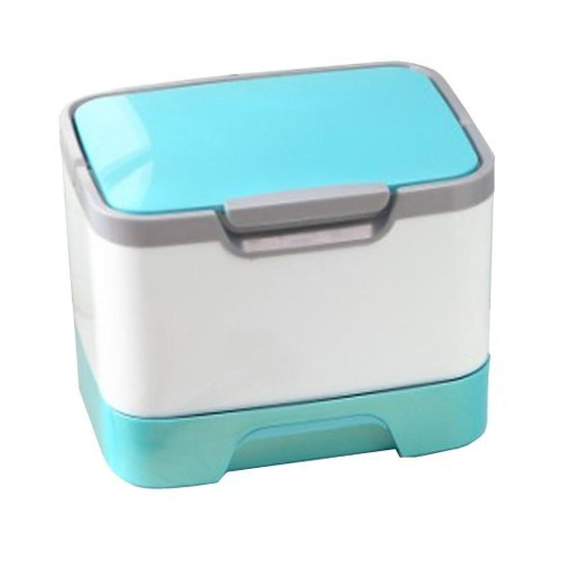 個人的なハッチ空気メイクボックス 大容量 かわいい 鏡付き プロも納得 コスメの収納に (ピンク、ブルー、グリーン)