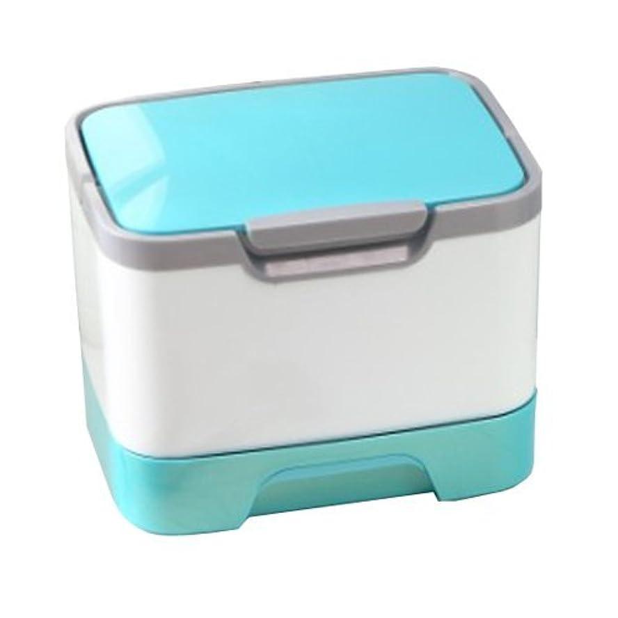 スタッフむしゃむしゃクールメイクボックス 大容量 かわいい 鏡付き プロも納得 コスメの収納に (ピンク、ブルー、グリーン)