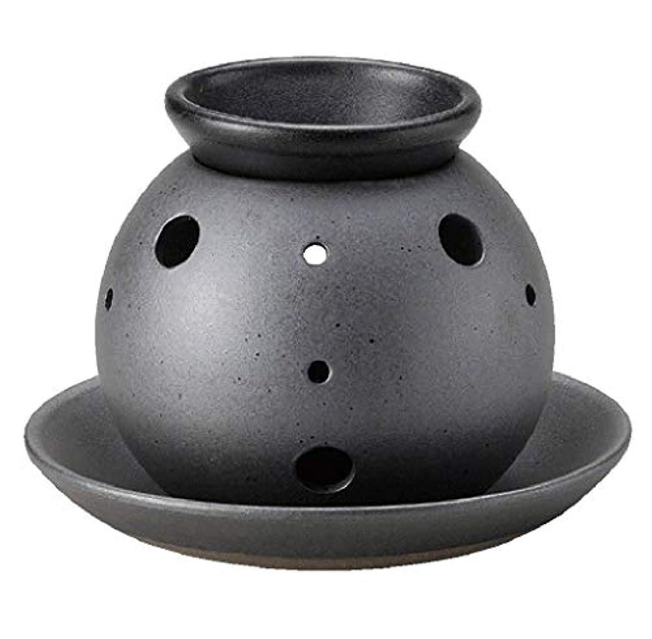 金額上陸シェトランド諸島常滑焼 7-227 盛正黒泥丸形茶香炉 盛正φ14.5×H11㎝