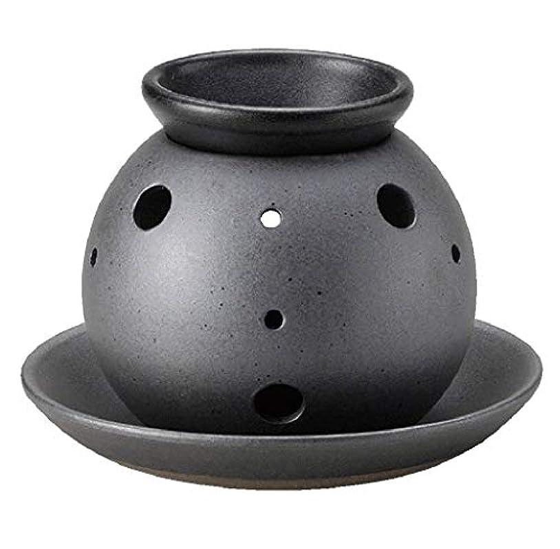 対話ワゴン洋服常滑焼 7-227 盛正黒泥丸形茶香炉 盛正φ14.5×H11㎝