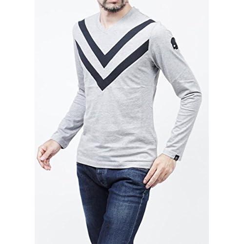 (ハイドロゲン) HYDROGEN Vネック長袖Tシャツ Mサイズ GREY MELANGE×BLACK [並行輸入品]