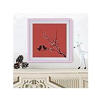 ソリッド木製スクエアフォトフレーム額縁吊り壁掛けクロスステッチ取り付けダイヤモンド額縁家の装飾,pink,7inch