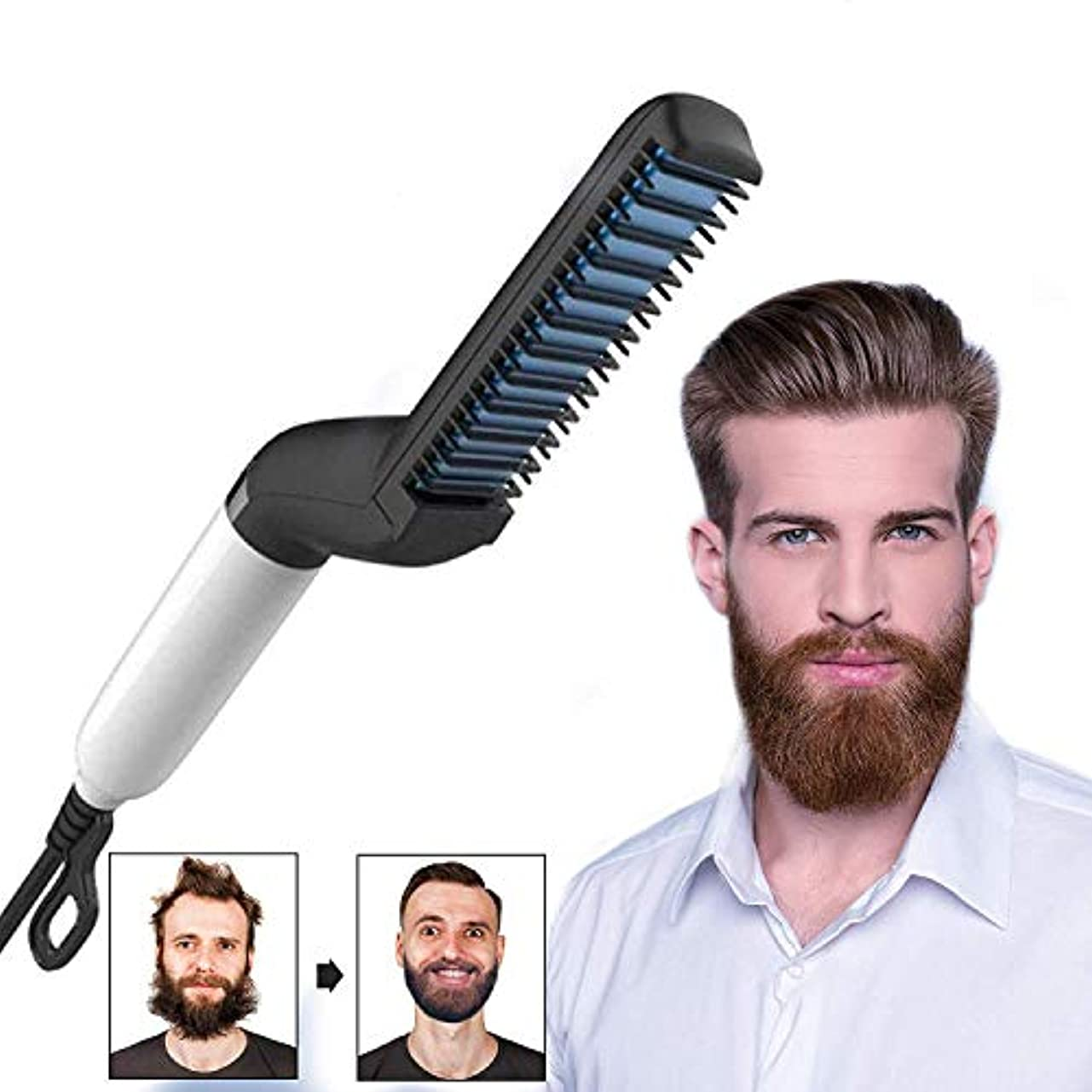 一般的に言えばアテンダント公ひげ矯正、多機能電気ひげと男性のためのヒートブラシの櫛を矯正髪、、最高のギフトのための熱ひげ矯正ブラシ