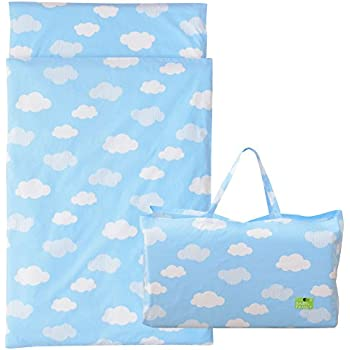 エムール 洗える『お昼寝 ベビー布団 5点セット 園児用』 持ち運べる バッグ付き 雲柄ブルー