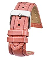 純正パッド入りレザー腕時計バンドでAlligator Grain仕上げ–Assorted 10色サイズ18mm、20mm、22mm & 24mm 22MM ピンク