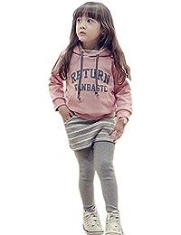ノーブランド品 ガールズ 上下2点セット パーカー パンツ セットアップ 韓国ファッション スウエット 春秋冬用 子供服 女の子 カジュアルウエア 通学 スポーツウエア