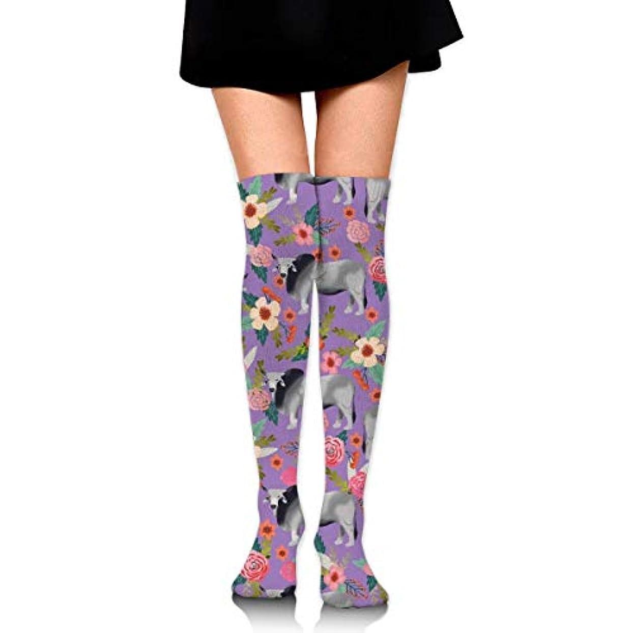 名誉あるアクロバット履歴書MKLOS 通気性 圧縮ソックス Breathable Extra Long Cotton Mid Thigh High Rahman Cow Floral Exotic Psychedelic Print Compression...