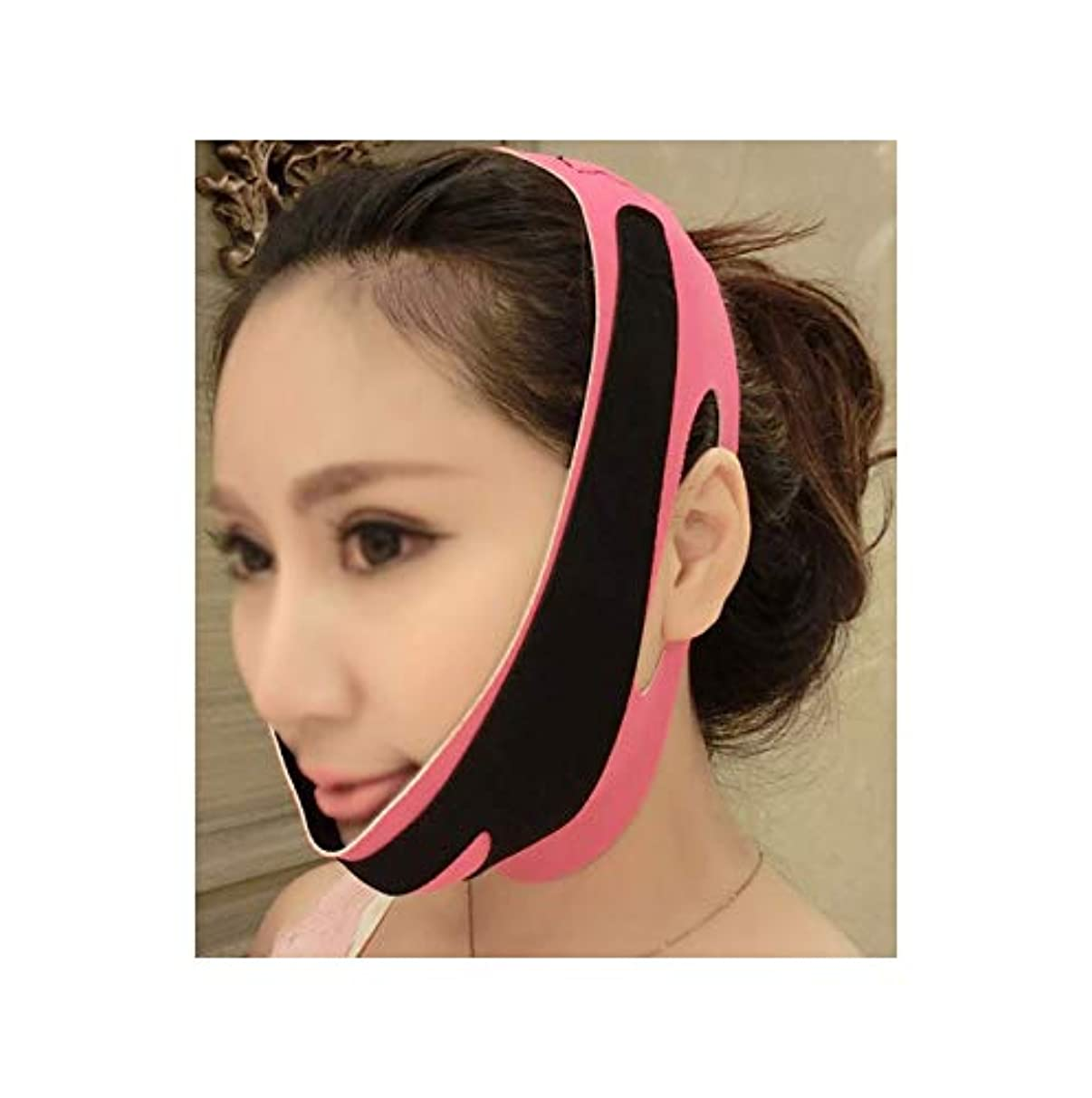 求人新しさフィードオン薄い顔の包帯の顔のスリムを取り除く二重あごを取り除くVラインの顔の形を作成するあごの頬リフトアップアンチリンクルリフティングベルトフェイスマッサージツール女性と女の子用(3フェイス包帯)