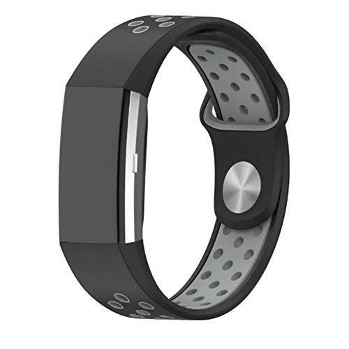 Fitbit Charge 2 バンド MaxKu 交換ベルト 高級シリコンベルト 通気穴設計 柔軟でスポーツ仕様 多色選択 接続工具付く Fitbit Charge 2 ベルト(ブラック&ホワイト)