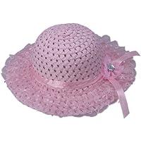 (ビグッド)Bigood 可愛い 麦わら帽子 子供用ハット キッズ 帽子 レース ペーパーハットサンバイザー子供 つば広帽 ボーラーハットアウトドア お出かけに ピンク