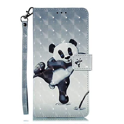 OMATENTI Huawei Mate 20 Lite ケース, トレンディでクール 人気 新製品 薄型 PU レザー 財布型 ケース, 3Dカラーパターン おしゃれ 手帳カバー き スタンド機能 マグネット開閉式 カード収納付 Huawei Mate 20 Lite 用 Case Cover, パンダ