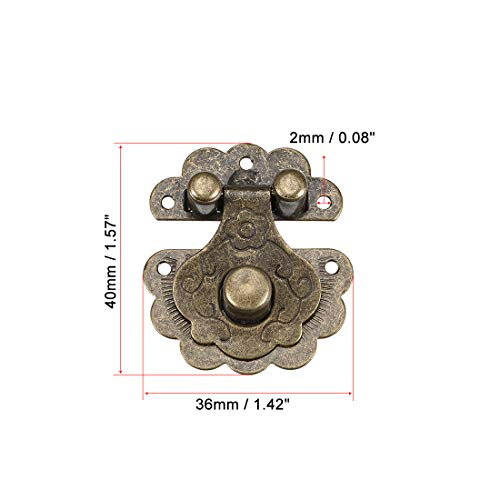 uxcell Wood Case Box Hasp 40x36mm Antique Latches Hook Bronze Tone, 3 Pcs
