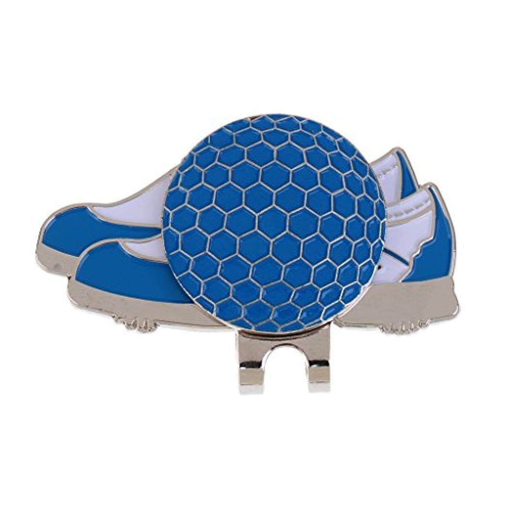 複雑でないハイキングDovewill ステンレス ゴルフ 靴のスタイル ハットクリップ マグネット ボールマーカー グリーンマーカー ギフト 4色選べる - ブルー