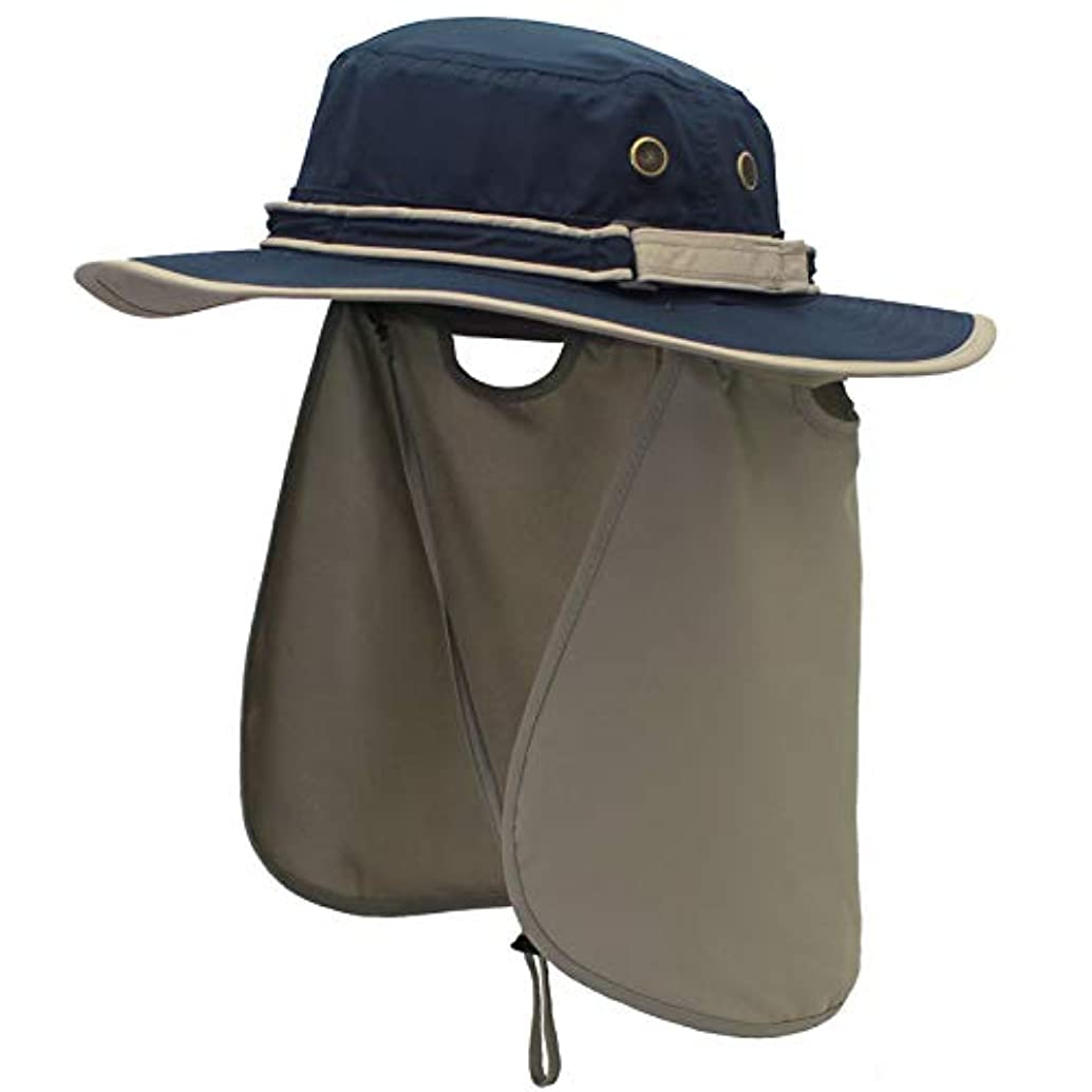 緩む水調和アウトドアハット日除け付帽子 漁師キャップUV?紫外線カット つば広 大きいサイズ 軽薄 速乾 防水 通気性抜群 あご紐付き 男女兼用 釣り ガーデニング 登山 農作アウトドア作業