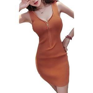 [ココアンドユカ] かわいい セクシー 背中 胸 あき 開き ミニ ワンピース タイト ノースリーブ ボディコン レディース ニット 過激 (オレンジ (褐色))