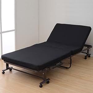 山善(YAMAZEN) 組立て不要の低反発折りたたみベッド(シングル) ブラック KBSH-90S(BK)RG