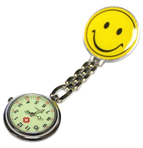 ナースウォッチ 看護師用時計 夜行性 逆さ文字盤 懐中時計 (イエロー)