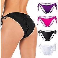 FOCUSSEXY Women's Sexy Brazilian Bikini Bottom with Tie-Side Cheeky V Cut Thong Swimwear