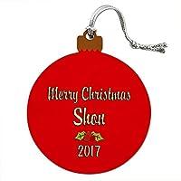 クリスマス Shon 年とウッドクリスマスオーナメント