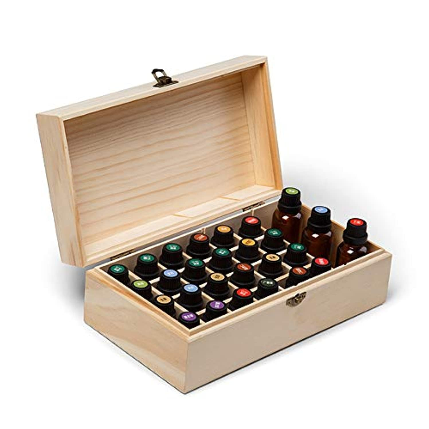 好む系統的純度精油ケース エッセンシャルオイル木製ボックス油の収納ケースは、25本のボトルナチュラルパインを開催します 携帯便利 (色 : Natural, サイズ : 27X15X10CM)