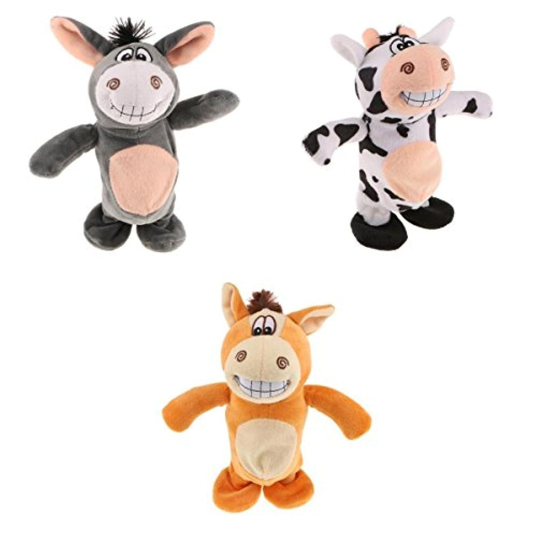SONONIA 3個入り  ぬいぐるみ 人形 話す 動物玩具 サウンド レコーダー ロバ 牛 馬モデル
