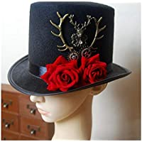 2020 Women Mens Steampunk Gear & Deer Head Top Hat Retro Gothic Lolita Breathable Fashion Casual Soft Decoration Lighting Fedoras Hats with Rose Flower (Color : Black, Size : 57cm)