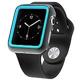 Apple Watch プレミアムプロダクションケース、Poetic [Duo Lite]Apple Watch 38mm ケース 薄型デザインでショックプロダクション **新型** [Duo] [灰色/シアン] ‐[2重のスクリーン保護を含む] PC/TPUショックプロダクションの二重保護で、プレミアムデザインを持ち、衝撃に強いです。そして、Apple Watch 38mm (2015) の色に合わせます。灰色/シアン(3年間の保証が付いています。)