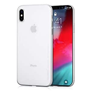 iPhone XS ケース 超薄型 memumi® アイフォンXS カバー スリム 0.3 PPハードケース Qi充電対応 指紋防止 一体感 ボタン保護 人気 (iPhone XS [5.8], クリアホワイト)